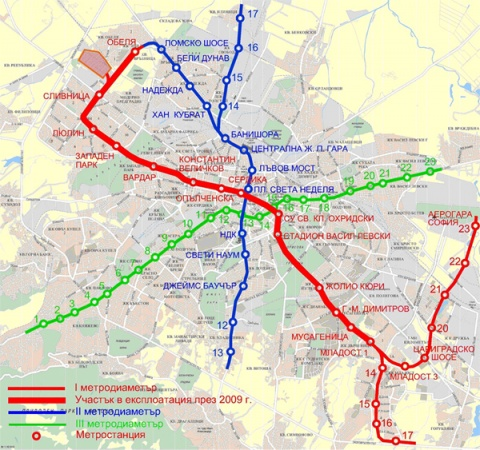 BULGARIAN CAPITAL AT CROSSROADS OVER 3RD SOFIA METRO LINE